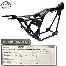 Rahmen, US Title, U-Bescheinigung & Messprotokoll Harley Davidson FLHTCU 1340