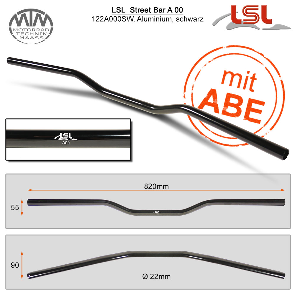 LSL Street Bar Lenker Alu schwarz poliert 22,2mm