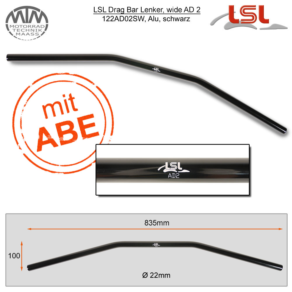 LSL Drag Bar, wide Lenker Alu schwarz poliert 22,2mm