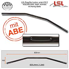 LSL Drag Bar Wide Lenker Stahl schwarz mit Harley Delle 1 Zoll