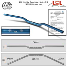 LSL Fat Bar - Superbike, flach Lenker Alu blau XN1