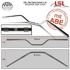 LSL Flat Track Lenker Stahl chrom 22,2mm
