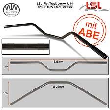 LSL Flat Track Lenker Stahl schwarz 22,2mm
