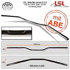 LSL Wide Bar Harley Lenker Stahl chrom L11.2