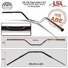 LSL Flat Track Lenker Stahl chrom mit Harley Delle 1 Zoll