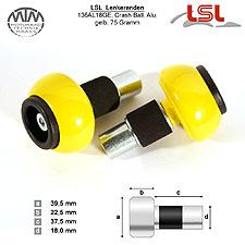 LSL Crash Ball Lenkerenden gelb für LSL Stahllenker