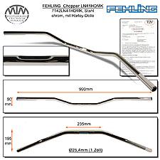 Fehling Lenker LN41HD flach & breit mit Harley Delle chrom