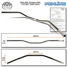 Fehling 22mm Lenker LN41 flach & breit chrom