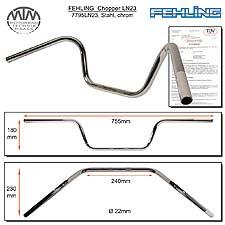 Fehling Chopperlenker LN23 22mm chrom