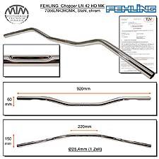 Fehling Lenker flach & breit LN42HD 1 Zoll mit Harley Delle chrom