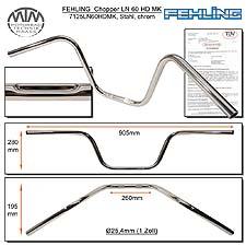 Fehling klassischer Hochlenker LN60HD 1 Zoll mit Harley Delle chrom