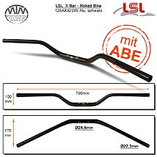 LSL X-Bar - Naked Bike Lenker Alu schwarz matt 28,6mm