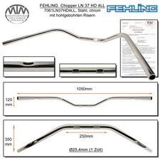 Fehling Lenker LN37HD 4LL flach, breit, gekröpft 1 Zoll chrom mit 4 Langlöchern