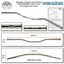 Fehling Lenker LN42HD 4LL flach, breit 1 Zoll chrom mit 4 Langlöchern