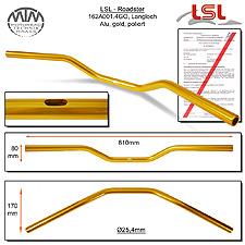 LSL Roadster Langloch Lenker Alu gold poliert A01.4 in Zoll