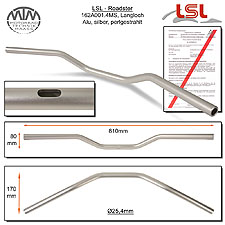 LSL Roadster Langloch Lenker Alu silber matt A01.4 in 1 Zoll