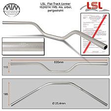 LSL Flat Track Lenker Alu silber matt A14.1 in 1 Zoll
