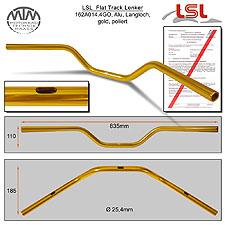 LSL Flat Track Langloch Lenker Alu gold poliert A14.4 in 1 Zoll