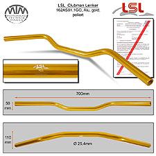 LSL Clubman Lenker Alu gold poliert AS1.1 in 1 Zoll