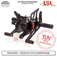 LSL 2Slide Fußrastenanlage Aprilia Tuono RSV 4 / APRC (RK) 11-14 inkl. Bremsleitung