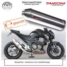 Takkoni Auspuff Endtopf für Kawasaki Z750 07- Edelstahl gebürstet