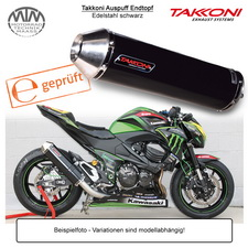 Takkoni Auspuff Endtopf für Kawasaki ZX300R Ninja 13-15 Edelstahl schwarz
