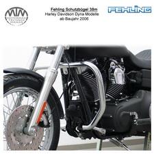 Fehling Schutzbügel 38mm eckige Form für Harley Davidson Dyna Modelle 2006-