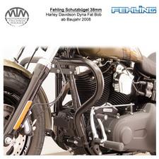 Fehling Schutzbügel 38mm für Harley Davidson Dyna Fat Bob 2008- in schwarz