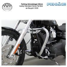 Fehling Schutzbügel 38mm konische Form für Harley Davidson Dyna Fat Bob 2008-