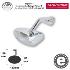 Highsider Lenkerenden Spiegel Ferrara 2 Alu silber 22mm + 25,4mm E-geprüft