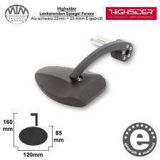 Highsider Lenkerenden Spiegel Ferrara Alu schwarz 22mm + 25,4mm E-geprüft