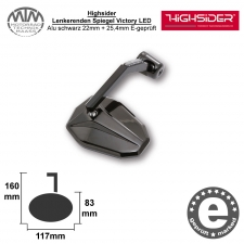Highsider Lenkerenden Spiegel Victory mit LED-Blinker Alu schwarz 22mm + 25,4mm E-geprüft