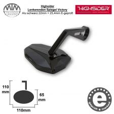 Highsider Lenkerenden Spiegel Victory Alu schwarz 22mm + 25,4mm E-geprüft