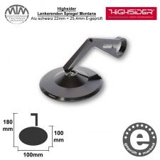 Highsider Lenkerenden Spiegel Montana Alu schwarz 22mm + 25,4mm E-geprüft