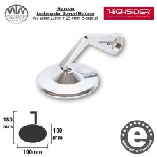 Highsider Lenkerenden Spiegel Montana Alu silber 22mm + 25,4mm E-geprüft