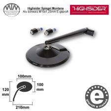 Highsider Spiegel Montana Alu schwarz M10x1,25mm E-geprüft