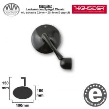 Highsider Lenkerenden Spiegel Classic Alu schwarz 22mm + 25,4mm E-geprüft