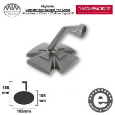 Highsider Lenkerenden Spiegel Iron Cross Alu schwarz 22mm + 25,4mm E-geprüft