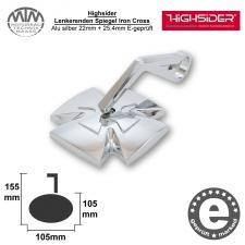 Highsider Lenkerenden Spiegel Iron Cross Alu silber 22mm + 25,4mm E-geprüft
