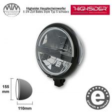 Highsider LED Hauptscheinwerfer 5 3/4 Zoll Bates Style Typ 5 schwarz