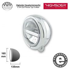 Highsider LED Hauptscheinwerfer 5 3/4 Zoll Pecos Typ 6 silber