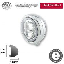 Highsider LED Hauptscheinwerfer 5 3/4 Zoll Pecos Typ 7 silber