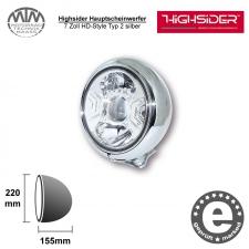 Highsider LED Hauptscheinwerfer 7 Zoll HD-Style Typ 2 silber