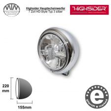 Highsider LED Hauptscheinwerfer 7 Zoll HD-Style Typ 3 silber