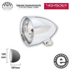 Highsider Hauptscheinwerfer 5 3/4 Zoll Classic 3 silber