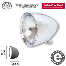 Highsider Hauptscheinwerfer 5 3/4 Zoll Classic 1 silber
